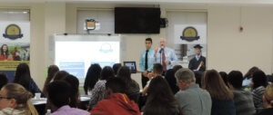 Students at Colonial High School gather during a kick-off event to learn about the Elevation Scholars Program.